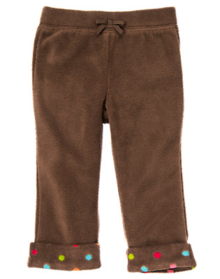 Chestnut Brown Dot Cuff Microfleece Pant by Gymboree