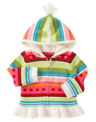 Toddler Girls Winter Pink Stripe Dot Stripe Sweater Hoodie by Gymboree