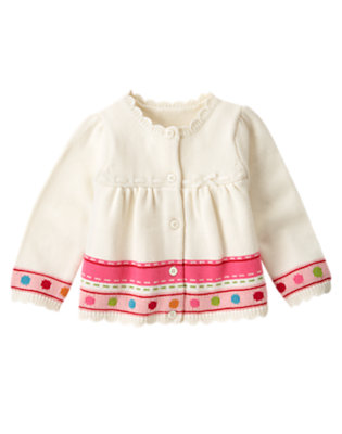 Toddler Girls Holiday Ivory Dot Stripe Sweater Cardigan by Gymboree