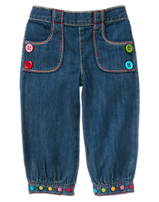 Denim Button Dot Cuff Jean by Gymboree