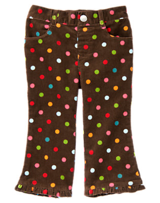 Chestnut Brown Dot Dot Corduroy Pant by Gymboree