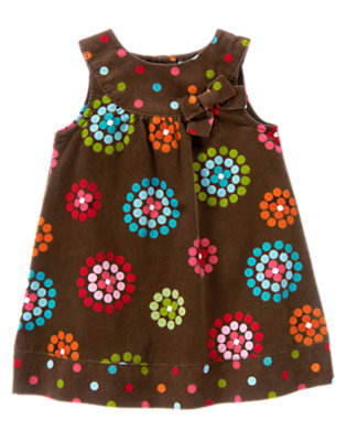 Toddler Girls Chestnut Brown Dot Flower Dot Flower Corduroy Jumper by Gymboree