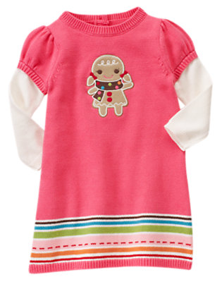 Winter Pink Gingerbread Girl Double Sleeve Sweater Dress by Gymboree