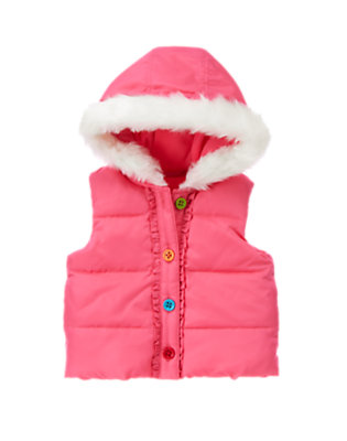 Toddler Girls Winter Pink Hooded Puffer Vest by Gymboree
