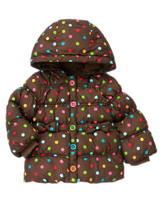 Toddler Girls Chestnut Brown Dot Dot Hooded Puffer Jacket by Gymboree