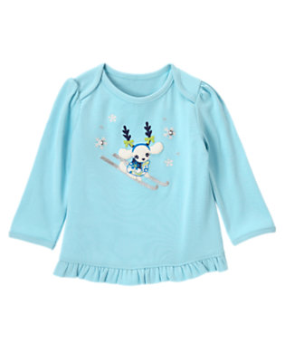 Snowflake Blue Gem Button Ski Dog Tee by Gymboree