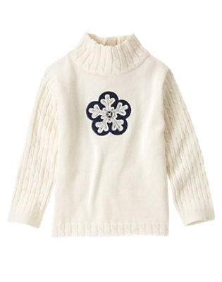 Toddler Girls Holiday Ivory Gem Button Snowflake Turtleneck Sweater by Gymboree