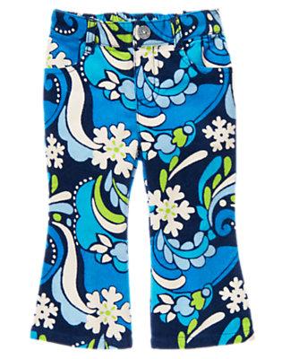 Toddler Girls Winter Blue Snowflake Snowflake Swirl Velvet Corduroy Pant by Gymboree