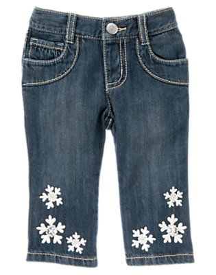 Toddler Girls Denim Gem Button Snowflake Jean by Gymboree
