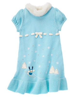 Toddler Girls Snowflake Blue Ski Dog Scenic Sweater Dress by Gymboree