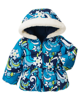 Toddler Girls Winter Blue Snowflake Snowflake Swirl Hooded Puffer Jacket by Gymboree