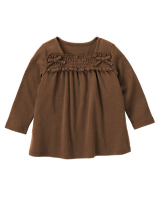 Chestnut Brown Smocked Long Sleeve Top by Gymboree
