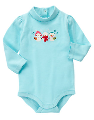 Jolly Blue Snowmen Turtleneck Bodysuit by Gymboree