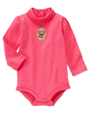 Winter Pink Gingerbread Girl Turtleneck Bodysuit by Gymboree