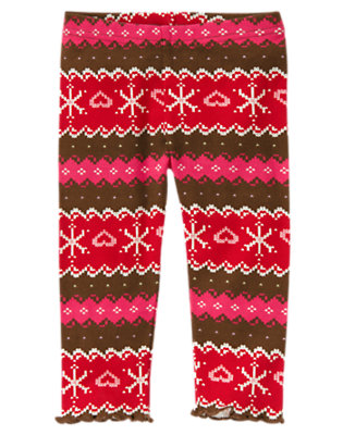 Toddler Girls Chestnut Brown Fair Isle Fair Isle Snowflake Legging by Gymboree