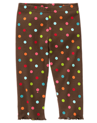 Toddler Girls Chestnut Brown Dot Dot Legging by Gymboree