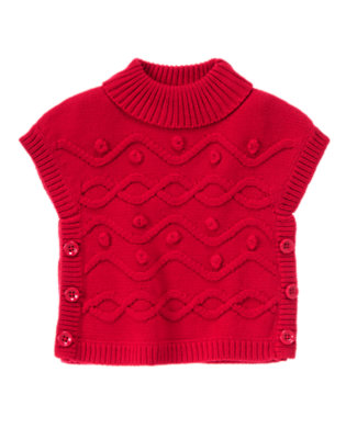 Toddler Girls Cheery Red Bobble Turtleneck Sweater Tunic by Gymboree