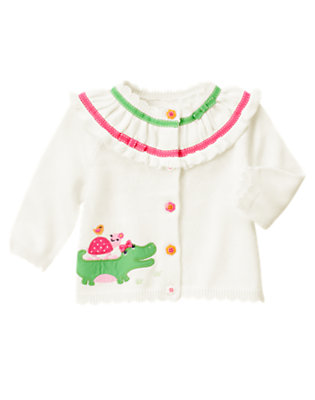 Ivory Alligator Ribbon Cardigan by Gymboree