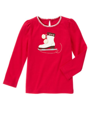 Cheery Red Ice Skate Pom Pom Tee by Gymboree