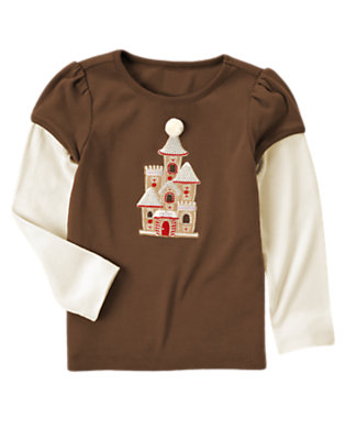 Chestnut Brown Sequin Gingerbread Castle Double Sleeve Tee by Gymboree