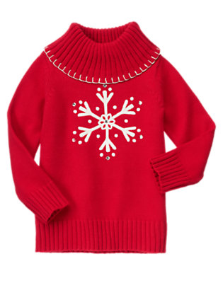 Girls Cheery Red Gem Snowflake Turtleneck Sweater by Gymboree