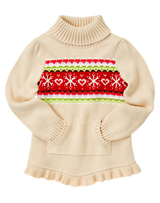 Girls Camel Heather Fair Isle Ruffle Sweater by Gymboree