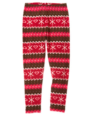 Girls Chestnut Brown Fair Isle Fair Isle Snowflake Legging by Gymboree