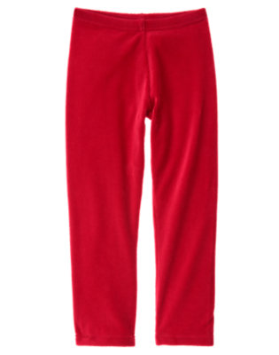 Girls Cheery Red Velour Legging by Gymboree