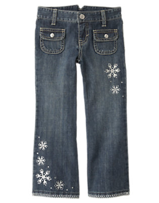 Girls Denim Gem Snowflake Bootcut Jean by Gymboree