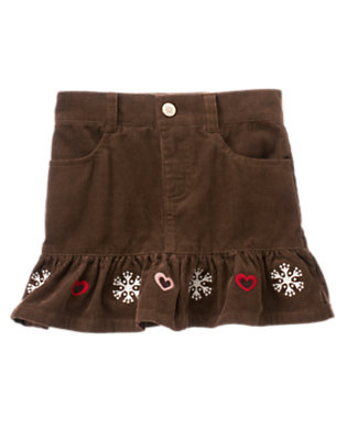 Girls Chestnut Brown Snowflake Heart Corduroy Skort by Gymboree
