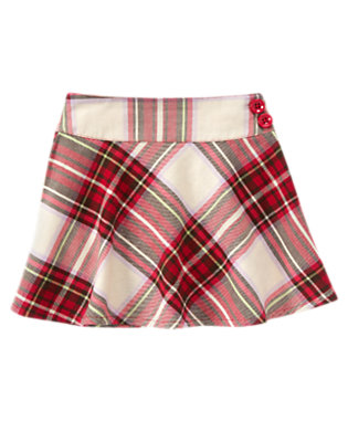 Girls Cheery Red Plaid Plaid Skort by Gymboree