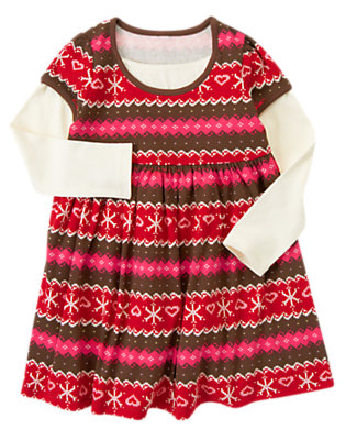 Girls Chestnut Brown Fair Isle Fair Isle Double Sleeve Dress by Gymboree