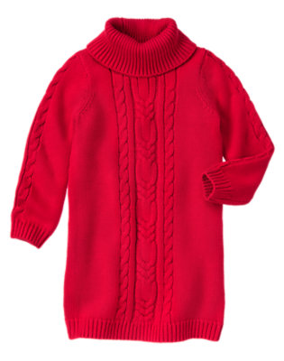 Girls Cheery Red Cable Sweater Dress by Gymboree