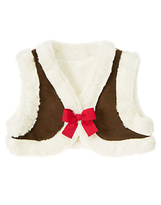Girls Chestnut Brown Faux Fur Crop Vest by Gymboree