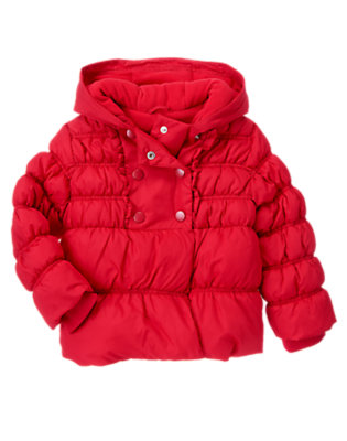 Cheery Red Hooded Puffer Coat by Gymboree