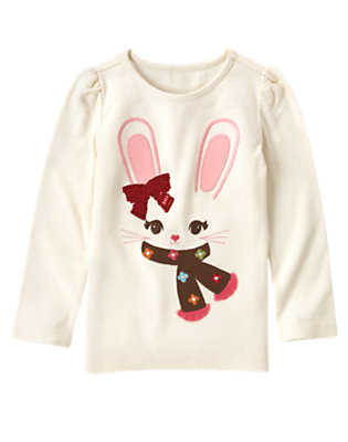 Holiday Ivory Sequin Bunny Tee by Gymboree