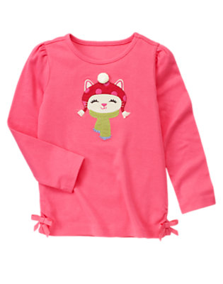 Winter Pink Pom Pom Kitty Tee by Gymboree
