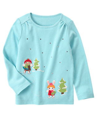 Cozy Blue Skating Kitty and Bunny Tee by Gymboree