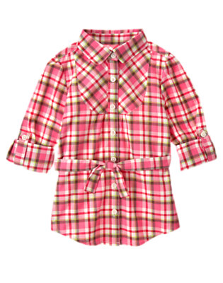 Girls Winter Pink Plaid Belted Plaid Top by Gymboree