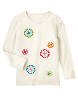 Holiday Ivory Gem Dot Flower Tee by Gymboree