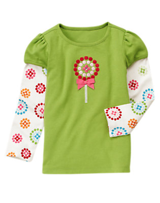 Joyful Green Bow Lollipop Double Sleeve Tee by Gymboree