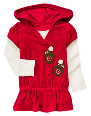 Cheery Red Mitten Double Sleeve Hoodie Top by Gymboree