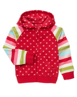 Girls Cheery Red Dot Dot Stripe Microfleece Hoodie by Gymboree