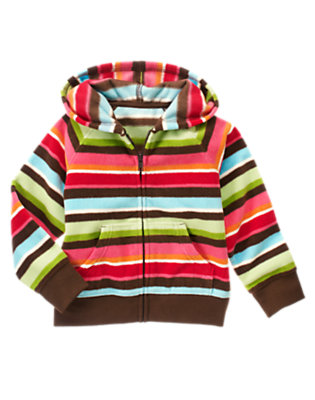 Girls Joyful Green Stripe Stripe Microfleece Hoodie by Gymboree