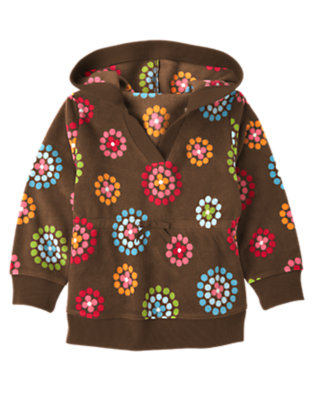 Girls Chestnut Brown Dot Flower Dot Flower Microfleece Hoodie by Gymboree