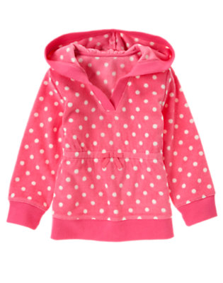 Girls Winter Pink Dot Dot Pullover Microfleece Hoodie by Gymboree