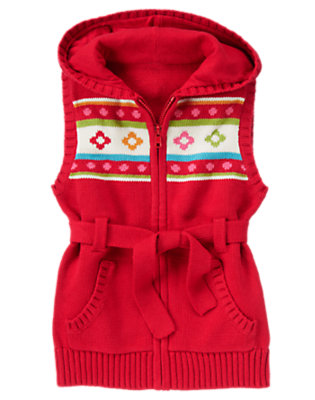 Girls Cheery Red Belted Hoodie Sweater Vest by Gymboree