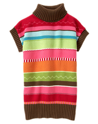 Girls Cheery Red Zigzag Stripe Stripe Sweater Tunic by Gymboree