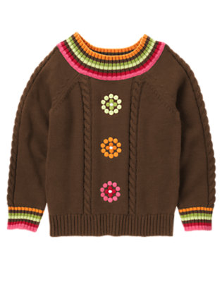 Girls Chestnut Brown Dot Flower Cable Sweater by Gymboree