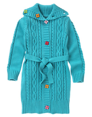 Girls Celestial Blue Flower Button Cable Sweater Duster by Gymboree